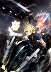 1boy action armor blonde_hair blue_eyes buster_sword cloud_strife commentary_request explosion final_fantasy final_fantasy_vii final_fantasy_vii_remake fire gloves ground_vehicle highres holding holding_weapon jun_(seojh1029) materia motor_vehicle motorcycle on_motorcycle riding short_hair shoulder_armor sleeveless solo speed_lines spiky_hair sweater turtleneck weapon