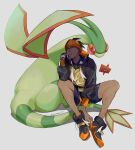 1boy absurdres black_hair black_hoodie closed_mouth commentary_request dark_skin dark_skinned_male dynamax_band earrings flygon gen_3_pokemon gen_4_pokemon gloves grey_background gym_leader highres hood hoodie jewelry maemaesp male_focus orange_headwear pokemon pokemon_(creature) pokemon_(game) pokemon_swsh raihan_(pokemon) rotom rotom_phone shirt shoes shorts simple_background single_glove