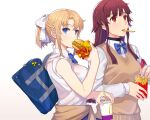 2girls armband bag bangs blonde_girl_(itou) blonde_hair blue_bow bow clothes_around_waist commentary_request cup drinking_straw eating eyebrows_visible_through_hair food french_fries hamburger highres itou_(onsoku_tassha) long_hair mcdonald's multiple_girls original radioactive red_eyes redhead school_bag shirt short_ponytail sidelocks simple_background sweater sweater_around_waist sweater_vest white_background white_shirt