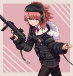 1girl bangs beret black_headwear black_jacket black_legwear black_skirt blush brown_eyes brown_hair closed_mouth collared_shirt commission diagonal_stripes dress_shirt ear_protection eyebrows_visible_through_hair fur-trimmed_hood fur_trim girls_frontline grey_background gun h&k_mp7 hair_between_eyes hat highres holding holding_gun holding_weapon hood hood_down hooded_jacket jacket long_sleeves looking_at_viewer mp7_(girls_frontline) nail_polish object_namesake open_clothes open_jacket pantyhose pink_background pleated_skirt red_nails shirt skeb_commission skirt solo striped striped_background submachine_gun trigger_discipline two-tone_background weapon white_shirt yakob_labo