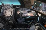 2girls animal_ear_fluff animal_ears arknights bangs black_gloves black_hair black_jacket brown_eyes car car_interior character_doll city commentary_request driving fingerless_gloves gloves grey_eyes ground_vehicle hair_between_eyes hair_ornament hairclip highres holding jacket lappland_(arknights) long_hair long_sleeves meganeno_dokitsui motor_vehicle multiple_girls night penguin_logistics_logo pointing scar scar_across_eye silver_hair texas_(arknights) white_gloves white_jacket wolf_ears