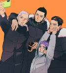 1girl 3boys ainu ainu_clothes alternate_costume asirpa bandana beard black_coat black_eyes black_hair blue_bandana blue_eyes buzz_cut cellphone closed_mouth coat collar collared_jacket commentary_request contemporary cup ear_piercing earrings facial_hair fur-trimmed_hood fur_trim goatee golden_kamuy grey_hair grey_jacket grimace hair_slicked_back hair_strand hands_on_another's_cheeks hands_on_another's_face holding holding_cup holding_phone hood hood_down hooded_jacket hoop_earrings jacket jewelry kiroranke long_sleeves looking_up multiple_boys ogata_hyakunosuke one_eye_closed open_mouth orange_background parted_lips phone piercing self_shot shiraishi_yoshitake short_hair sideburns simple_background smartphone smile standing stubble sweat tr_(lauralauraluara) undercut upper_body very_short_hair winter_clothes winter_coat
