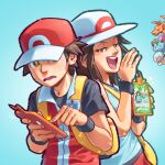 1boy 1girl aqua_shirt bag baseball_cap blue_background brown_eyes brown_hair bucket_hat charizard gen_1_pokemon gen_4_pokemon hat ivysaur leaf_(pokemon) long_hair messenger_bag pockypalooza pokemon pokemon_(creature) pokemon_(game) pokemon_frlg pokemon_masters_ex red_(pokemon) rotom rotom_phone shirt short_sleeves shoulder_bag sleeveless sleeveless_shirt smug squirtle super_smash_bros. sweatdrop upper_teeth white_headwear wristband yellow_bag