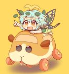 +_+ 1girl :d absurdres antennae bangs barefoot blue_hair blush brown_eyes butterfly_wings caramell0501 chibi commentary_request crossover dress eternity_larva eyebrows_visible_through_hair girl_on_top green_dress hair_between_eyes hair_ornament highres leaf_hair_ornament lying on_stomach open_mouth outstretched_arm pointing pui_pui_molcar shadow smile solo touhou wings yellow_background