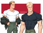 2boys beard blonde_hair blush brown_eyes collarbone covered_abs facial_hair green_jacket green_pants hancheol_mettugi jacket looking_away male_focus multiple_boys muscular muscular_male pants pectorals porco_galliard reiner_braun shingeki_no_kyojin shirt stubble sweatdrop taut_clothes taut_shirt tight_shirt undercut undressing white_shirt yellow_eyes