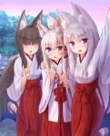 3girls :d absurdres animal_ear_fluff animal_ears arm_up bangs black_hair blush borrowed_character breasts brown_footwear commentary_request eyebrows_visible_through_hair flower folded_ponytail fox_ears fox_girl fox_shadow_puppet fox_tail girl_sandwich hair_between_eyes hair_flower hair_ornament hakama hand_on_another's_shoulder highres iroha_(iroha_matsurika) japanese_clothes kimono long_hair long_sleeves low_ponytail miko multiple_girls open_mouth original ponytail purple_flower red_eyes red_hakama sandwiched self_shot silver_hair small_breasts smile socks standing standing_on_one_leg tabi tail very_long_hair violet_eyes white_kimono white_legwear wide_sleeves zouri