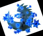 absurdres blue_flower claws closed_eyes closed_mouth commentary_request english_text fang flower full_body gen_2_pokemon highres iogi_(iogi_k) no_humans pokemon pokemon_(creature) simple_background solo tyranitar white_background