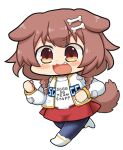 1girl :3 :d animal_ears bangs blush bone_hair_ornament braid brown_eyes brown_hair chibi clenched_hands clothes_writing commentary_request cosplay cosplay_request dog_ears dog_girl dog_tail english_text eyebrows_visible_through_hair fang full_body hair_ornament hololive inugami_korone jacket long_hair long_sleeves looking_at_viewer matarou_(matarou072) open_mouth segagaga shirt skirt smile solo t-shirt tail transparent_background twin_braids virtual_youtuber white_jacket white_shirt