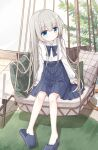 1girl bangs blue_bow blue_eyes blue_footwear blue_skirt blush bow closed_mouth collared_shirt commentary_request dress_shirt eyebrows_visible_through_hair full_body glass_table grey_hair hair_between_eyes healer_girl_(yuuhagi_(amaretto-no-natsu)) indoors long_hair long_sleeves no_socks original pillow plant pleated_skirt shirt sitting skirt sleeves_past_wrists slippers solo table very_long_hair white_shirt wooden_floor yuuhagi_(amaretto-no-natsu)