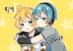 2boys akikan_sabago aqua_eyes aqua_hair aqua_neckwear arm_warmers arms_around_neck blonde_hair commentary date_pun dated grey_shirt hatsune_mikuo headphones hug kagamine_len male_focus multiple_boys necktie number_pun open_mouth shirt short_sleeves spiky_hair star_(symbol) translated upper_body vocaloid white_shirt yellow_background yellow_neckwear