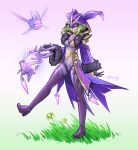 1girl bare_shoulders blazan breasts choker cloak closed_mouth diamond_(gemstone) electro_cicin_mage_(genshin_impact) evil_grin evil_smile fur_cuffs fur_trim gem genshin_impact gloves glowing glowing_eyes grass green_hair grin highres holding holding_lantern hood hooded_cloak lantern leotard long_sleeves mask purple_cloak purple_leotard short_hair simple_background smile walking white_background