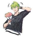 1boy :d amami_rantarou arm_up bangs blush bouquet bracelet closed_eyes commentary_request cropped_torso danganronpa_(series) danganronpa_v3:_killing_harmony flower green_hair grey_background holding holding_bouquet holding_flower horizontal_stripes jewelry male_focus meipoi motion_lines open_mouth ring shirt short_hair short_sleeves simple_background sketch smile solo striped striped_shirt twitter_username upper_body upper_teeth white_background