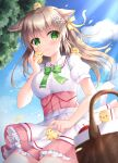 1girl animal animal_ears apron bangs bird blurry blurry_foreground blush bow breasts brown_hair chick closed_mouth collared_shirt commentary_request day depth_of_field eyebrows_visible_through_hair flower frilled_skirt frills green_bow green_eyes hair_between_eyes hair_bow hair_flower hair_ornament highres kohinata_hoshimi long_hair medium_breasts original outdoors picnic picnic_basket pink_skirt puffy_short_sleeves puffy_sleeves rabbit_ears shirt short_sleeves skirt smile solo waist_apron white_apron white_flower white_shirt yellow_bow
