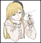 1girl artist_name bangs black_border black_headwear blonde_hair blue_eyes blunt_bangs blush border chess_piece closed_mouth cropped_torso dress_shirt fate_(series) frilled_shirt frilled_sleeves frills gloves grey_shirt hand_up hands_up hat head_tilt highres holding king_(chess) long_hair long_sleeves looking_at_viewer lord_el-melloi_ii_case_files reines_el-melloi_archisorte sakanomachico shirt smile solo upper_body white_background