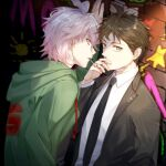 2boys ahoge arm_at_side arm_up bangs black_jacket black_neckwear brick_wall brown_eyes brown_hair cigarette cigarette_kiss commentary_request danganronpa_(series) danganronpa_2:_goodbye_despair dutch_angle green_jacket grey_hair hand_up hinata_hajime hood hood_down hooded_jacket hoodie jacket komaeda_nagito long_sleeves looking_at_viewer male_focus meipoi multiple_boys necktie official_alternate_costume open_clothes open_jacket open_mouth profile shirt short_hair sideways_glance star_(symbol) star_print sun_print upper_body wall_slam yellow_eyes