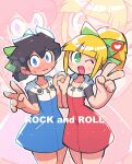 1boy 1girl :3 absurdres black_hair blonde_hair blush bow character_name cosplay crossdressing hair_bow highres holding_hands open_mouth ponytail rariatto_(ganguri) rockman rockman_(character) rockman_(classic) roll_(rockman) roll_(rockman)_(cosplay) smile v