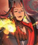 1boy alternate_hairstyle ashiya_douman_(fate) asymmetrical_hair bell black_eyes black_hair black_headwear black_nails black_skin close-up colored_skin curly_hair earrings face fangs fate/grand_order fate_(series) fingernails fire hair_bell hair_between_eyes hair_intakes hair_ornament hat heian jewelry long_hair magatama magatama_earrings male_focus multicolored_hair nezunomori official_alternate_costume onmyouji sharp_fingernails solo tate_eboshi toned toned_male traditional_clothes two-tone_hair upper_body very_long_fingernails very_long_hair white_hair
