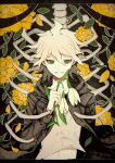 1boy bangs brown_jacket commentary danganronpa_(series) danganronpa_2:_goodbye_despair flower green_eyes highres holding holding_flower hood jacket komaeda_nagito kuma_no_(y6lnv) letterboxed long_sleeves looking_at_viewer male_focus medium_hair navel open_clothes open_jacket orange_flower shirt skeleton smile solo stomach upper_body white_hair