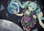 1/6_(vocaloid) 1girl ahoge aqua_eyes aqua_hair black_dress black_legwear black_skirt blush commentary dress earth_(planet) floating floating_hair frilled_skirt frills hatsune_miku heart_ahoge highres holding holding_hands holding_microphone layered_skirt long_hair looking_at_viewer microphone midriff miniskirt moon navel nonnon_2012 pink_ribbon planet pov pov_hands ribbon skirt sky space star_(sky) starry_sky sunrise thigh-highs twintails very_long_hair vocaloid wrist_ribbon zettai_ryouiki