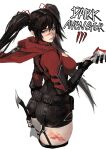 1girl ass belt_pouch black_garter_straps black_hair black_shorts blood blood_on_face bloody_weapon breasts cape commentary copyright_name dark_avengers_3 dual_wielding english_commentary garter_straps hair_ornament hair_scrunchie high-waist_shorts highres holding holding_weapon large_breasts lips long_hair looking_back meme_attire nexon nose open-chest_sweater pale_skin pouch red_cape red_eyes red_sweater scrunchie short_sword shorts solo strap sweater sword turtleneck turtleneck_sweater twintails unizama weapon white_background