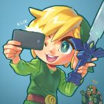 !? 2boys belt blonde_hair blue_background cellphone ganondorf green_headwear hat link male_focus master_sword multiple_boys phone pockypalooza self_shot simple_background smartphone the_legend_of_zelda the_legend_of_zelda:_the_wind_waker toon_link