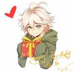 1boy bangs blush box closed_mouth cropped_torso danganronpa_(series) danganronpa_2:_goodbye_despair dated gift green_jacket grey_eyes hands_up happy_birthday heart holding holding_gift hood hood_down hooded_jacket hoodie jacket komaeda_nagito long_sleeves looking_at_viewer male_focus meipoi messy_hair simple_background sleeves_past_fingers sleeves_past_wrists smile solo upper_body white_background