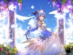 absurdres bell blue_hair breasts chubit001 clouds cowbell detached_sleeves dress fish ganyu_(genshin_impact) genshin_impact highres holding holding_clothes holding_dress horns long_hair medium_breasts sky violet_eyes wedding_dress