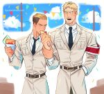 2boys beard beige_coat belt blonde_hair blush brown_eyes coat confetti eating facial_hair festival food hancheol_mettugi holding holding_food large_hands male_focus military military_uniform multiple_boys muscular muscular_male necktie necktie_between_pecs pectorals porco_galliard reiner_braun shingeki_no_kyojin shirt stubble tearing_up undercut uniform white_shirt yellow_eyes