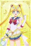 1girl :d bishoujo_senshi_sailor_moon bishoujo_senshi_sailor_moon_crystal blonde_hair blue_eyes blue_sailor_collar card_(medium) character_name choker circlet collarbone collared_shirt copyright_name crescent crescent_earrings double_bun earrings elbow_gloves gloves hair_intakes heart heart_choker highres jewelry long_hair looking_at_viewer miniskirt morimoon multicolored multicolored_clothes multicolored_skirt open_mouth pleated_skirt sailor_collar sailor_moon sailor_senshi_uniform sailor_shirt shirt skirt sleeveless sleeveless_shirt smile solo standing super_sailor_moon twintails very_long_hair white_gloves white_shirt yellow_background yellow_choker
