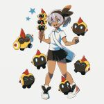 1girl bag bangs bea_(pokemon) black_hairband blush bow_hairband clenched_hand collared_shirt commentary dark_skin dark_skinned_female eyebrows_visible_through_hair eyelashes falinks gen_8_pokemon grey_eyes grey_hair hair_between_eyes hairband ice_cream_cone knees mofge open_mouth pigeon-toed pokemon pokemon_(creature) pokemon_(game) pokemon_swsh shirt shoes short_hair short_sleeves shoulder_bag skirt smile star_(symbol) teeth tongue white_shirt