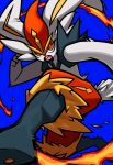 blue_background cinderace fire gen_8_pokemon highres kicking looking_at_viewer omoti_sakamoto open_mouth orange_eyes pokemon pokemon_(creature) simple_background solo teeth thick_outlines tongue