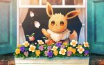 brown_eyes brown_fur commentary_request day eevee flower gen_1_pokemon gen_2_pokemon hoppip looking_up mofge paws petals pokemon pokemon_(creature) sparkle window
