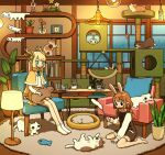 2girls animal_ears antlers aqua_eyes bangs barefoot black_eyes blonde_hair blush book brown_hair cat cat_stretch chair clock cup eyebrows_visible_through_hair flower glowing highres indoors lamp long_hair long_sleeves multiple_girls open_mouth original pet_bed plant pointy_ears potted_plant rabbit_ears red_flower rug shadow shelf sitting smile socks spotted_fur stretch table tao_(tao15102) twintails vase wariza white_cat white_legwear window
