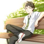 1boy bangs bench breast_pocket brown_hair closed_mouth collared_shirt crossed_legs danganronpa_(series) danganronpa_2:_goodbye_despair dated day green_eyes green_neckwear hand_up hinata_hajime light looking_at_viewer male_focus meipoi necktie outdoors pants pocket shirt shoes short_sleeves sitting smile sneakers solo striped white_shirt