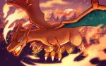 blue_eyes charizard claws commentary fangs fire flying gen_1_pokemon no_humans nora_(le-chat-noir) open_mouth outdoors pokemon pokemon_(creature) solo tree