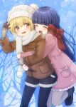 2girls absurdres black_footwear blonde_hair blue_hair boots brown_jacket closed_eyes coat dark_blue_hair eyebrows_visible_through_hair fang frilled_coat frills furude_rika hat highres higurashi_no_naku_koro_ni hime_cut houjou_satoko hug hug_from_behind jacket knit_hat leg_lift long_sleeves mittens multiple_girls murara open_mouth orange_eyes pink_coat pink_mittens pocket red_scarf scarf shorts smile visible_air white_headwear white_scarf winter_clothes winter_coat