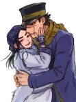 1boy 1girl ainu ainu_clothes asirpa bandana black_hair black_headwear blue_bandana blue_coat blush brown_eyes brown_hair buttons cape closed_eyes coat commentary_request couple ear_piercing earrings fur_cape golden_kamuy hand_on_another's_cheek hand_on_another's_face hat hetero hoop_earrings hug imperial_japanese_army jewelry kepi long_hair long_sleeves looking_at_another military military_hat military_uniform open_mouth piercing scar scar_on_cheek scar_on_face scar_on_mouth scar_on_nose scarf short_hair simple_background smile spiky_hair standing star_(symbol) sugimoto_saichi takeshi_kai thick_eyebrows two-tone_headwear uniform upper_body white_background white_cape yellow_headwear yellow_scarf