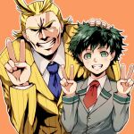 2boys all_might bangs black_hair blonde_hair blue_neckwear boku_no_hero_academia brown_jacket collared_shirt commentary_request dated double_v freckles green_eyes green_hair grey_jacket grin hand_on_another's_head jacket long_sleeves looking_at_viewer male_focus meipoi messy_hair midoriya_izuku multiple_boys necktie orange_background school_uniform shirt short_necktie simple_background smile u.a._school_uniform v