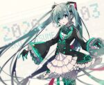 1girl 2020 black_coat black_gloves blue_bow blue_eyes blue_hair blue_neckwear blurry blurry_background bow bowtie coat cowboy_shot cyawa dated depth_of_field earrings floating_earring gloves half_gloves hatsune_miku headgear jewelry long_hair long_sleeves looking_at_viewer microphone multicolored multicolored_clothes multicolored_gloves outstretched_arms pantyhose parted_lips solo spread_arms standing very_long_hair vocaloid white_legwear