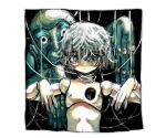 1other border closed_mouth doll_joints grey_hair hair_over_eyes hands_up highres hole_in_chest hole_on_body joints looking_at_viewer monster original puppet puppet_strings shima_(wansyon144) short_hair solo white_border yellow_eyes