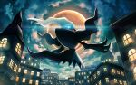 blue_eyes building clouds commentary_request darkrai flying from_below gen_4_pokemon glowing glowing_eyes looking_at_viewer looking_back mofge moon mythical_pokemon night no_humans outdoors pokemon pokemon_(creature) sky solo star_(sky) window