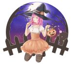 1girl bangs bare_tree black_headwear blush candy collarbone danganronpa_(series) danganronpa_2:_goodbye_despair dress fence food frills full_moon halloween hands_up hat holding holding_candy holding_food jack-o'-lantern kneeling medium_hair meipoi moon nanami_chiaki night open_mouth orange_dress pink_eyes pink_hair pumpkin shoes sky solo star_(sky) starry_sky striped striped_legwear symbol_commentary thigh-highs tree white_background witch_hat