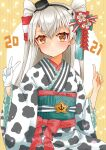 1girl 2021 alternate_costume amatsukaze_(kantai_collection) anchor_symbol brown_eyes cocoperino commentary_request cowboy_shot gloves highres index_finger_raised japanese_clothes kantai_collection kimono long_hair obi sash silver_hair single_glove smokestack_hair_ornament solo striped striped_background two_side_up v white_gloves windsock