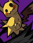 +_+ claws disguise gen_7_pokemon highres mimikyu no_humans omoti_sakamoto orange_eyes pokemon pokemon_(creature) purple_background simple_background solo thick_outlines