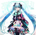 1girl :d black_legwear blue_eyes blue_hair blue_skirt choker colored_skin cyawa dated eyebrows_visible_through_hair green_choker hair_ornament hatsune_miku headset heart highres long_hair looking_at_viewer microphone multicolored multicolored_skin one_eye_closed one_side_up open_mouth skirt smile solo standing thigh-highs thigh_gap very_long_hair vocaloid