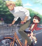 2boys amuro_tooru bangs bicycle bicycle_basket black-framed_eyewear black_footwear blonde_hair blue_eyes blue_shorts blurry blurry_background brown_hair child clouds collared_shirt commentary_request day edogawa_conan glasses grey_pants grin ground_vehicle hair_between_eyes k_(gear_labo) long_sleeves looking_to_the_side male_focus meitantei_conan multiple_boys multiple_riders open_clothes open_mouth open_shirt outdoors pants red_shirt riding road shirt shoes short_hair short_sleeves shorts sky smile sneakers socks street striped striped_shirt sweatdrop white_legwear white_shirt