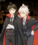 2boys ahoge alternate_costume black_neckwear black_pants black_vest blue_eyes blue_ribbon brown_background brown_eyes cape collared_shirt commentary_request cowboy_shot crossed_arms danganronpa_(series) danganronpa_2:_goodbye_despair dated formal gloves green_eyes grey_eyes grey_hair hand_on_hip hinata_hajime komaeda_nagito leaning_forward long_sleeves looking_at_viewer male_focus meipoi messy_hair multiple_boys necktie pants ribbon shirt smile vampire_costume vest white_gloves white_hair white_shirt