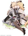2girls animal_ear_fluff animal_ears arknights armor bandaid bangs black_headwear blemishine_(arknights) blonde_hair blush commentary_request crying embarrassed eyebrows_visible_through_hair hat high_heels highres holding_hand horse_ears horse_girl horse_tail kyou_039 long_hair multiple_girls open_mouth orange_eyes ponytail simple_background tail thigh-highs twitter_username whislash_(arknights) white_background yuri