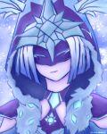 1girl cheshirei_(rhem) cloak cryo_cicin_mage_(genshin_impact) diamond_(gemstone) fur-trimmed_hood fur_trim genshin_impact highres hood hooded_cloak long_sleeves mask snowing