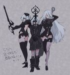 1boy 2girls alternate_costume androgynous android arm_behind_head back_cutout bangs blindfold boots bow closed_eyes clothing_cutout coat eyebrows_visible_through_hair hair_between_eyes hair_bow high_heels highres holding holding_staff holding_sword holding_weapon joints long_hair long_sleeves multiple_girls nier_(series) nier_automata nier_reincarnation official_alternate_costume panties rion_(nier) see-through short_hair shorts staff star_(symbol) star_print sword thigh-highs thigh_gap translation_request underwear very_long_hair weapon white_hair yorha_no._2_type_b yorha_type_a_no._2